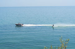 Water skiing in Black Sea near Koktebel, the Crimea, Ukraine Stock Images