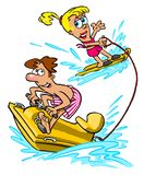 Water skiing cartoon Royalty Free Stock Photography