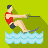 Water skiing icon, flat style Royalty Free Stock Photography