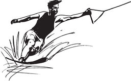Water skiing illustration Royalty Free Stock Photo