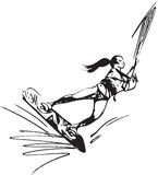 Water skiing illustration Royalty Free Stock Images