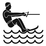 Water skiing man icon, simple style Stock Images