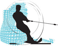 Water skiing man illustration. Stock Image