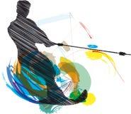 Water skiing man illustration Stock Images