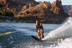 Water skiing in Parker Arizona. In the morning Stock Image