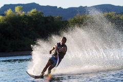Water skiing in Parker Arizona. In the morning Stock Photography