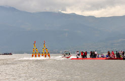 Water Skiing pyramid show. Many water skiers water skiing in a pyramid shape on Lake Qionghai, Xichang, Sichuan Province,China Stock Photography