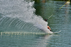 Water skiing. On sea Royalty Free Stock Images