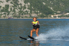 Water skiing on a sea Royalty Free Stock Photography