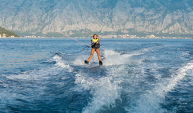 Water skiing on a sea Stock Photography