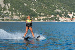 Water skiing on a sea Royalty Free Stock Images