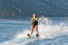 Water skiing on a sea Stock Photo