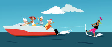 Water skiing seniors. Group of active seniors riding a motorboat and water skiing, EPS 8 vector illustration Royalty Free Stock Image