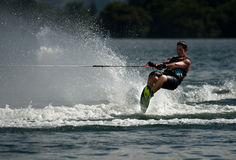 Water Skiing Slalom Action Stock Photography
