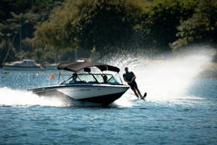 Water Skiing Slalom Action Stock Photo