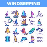 Water Skiing, Windsurfing Linear Vector Icons Set royalty free illustration