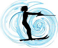 Water skiing woman illustration. Royalty Free Stock Images