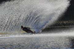 Water-Ski Girl Slalom Spray  Royalty Free Stock Photography