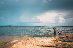 Water and sky in the Reservoir vintage Royalty Free Stock Photography