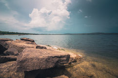 Water and sky in the Reservoir vintage Stock Photography