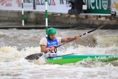 Water slalom in kayak discipline Royalty Free Stock Photo