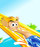 Water slide. Happy man in a water park having fun in a water slide Stock Photo