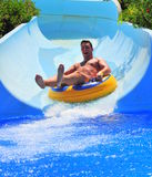 Water slide at the aqua park - sumer fun Royalty Free Stock Photos