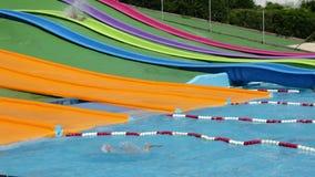 Water slide attraction at Illa Fantasia  Barcelona waterpark Stock Photography