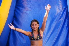 Water Slide Girl Stock Photo