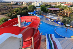 Water slide, the hotel areal Crystal Rocks, Salamis, Northern Cypru Royalty Free Stock Photography