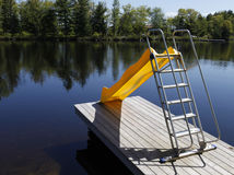 Water slide on the lake Stock Photos