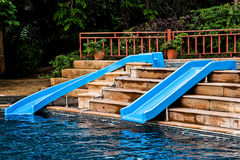 The Water slide of pool Royalty Free Stock Photography