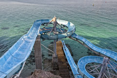 Water slide by the sea Royalty Free Stock Photography