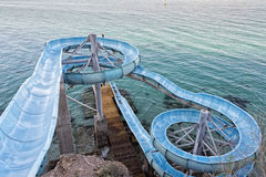 Water slide by the sea Royalty Free Stock Photo