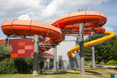 Water slide tube at public swimming pool Royalty Free Stock Photo