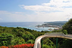 Water slide with view. The water slide in Mystic Mountain overlooking Ocho Rios stock image