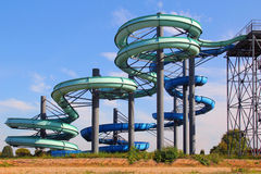 Water slides. Two water slides at the amusement park outdoor Stock Images