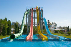 Water slides in aqua park Stock Photos