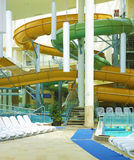 Water slides. Water attraction park in Gyula.Hungary Stock Photo