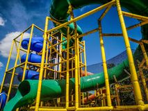 Water slides and blue sky Stock Image