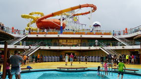 Water slides on the Carnival Breeze docked in Miami, Florida Royalty Free Stock Photo