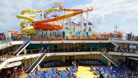 Water slides on the Carnival Breeze docked in Miami, Florida Stock Photography