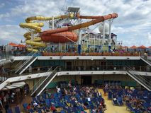 Water slides on the Carnival Breeze Stock Photos