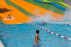 Water slides  at Illa Fantasia Barcelona  waterpark Royalty Free Stock Photos