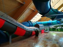 Water slides indoor colorful Stock Image