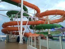 Water slides onboard cruise ship Liberty of the Seas Stock Images