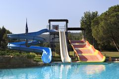 Water slides at Porto Carras Sithonia. Royalty Free Stock Images