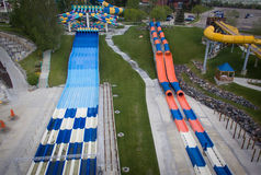 Water Slides at Water World Amusement Park Royalty Free Stock Photos