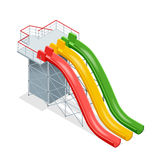 Water slides  on a white background. Flat 3d isometric illustration. Water amusement park playground. Water slides  on a white background. Flat 3d isometric Royalty Free Stock Photo