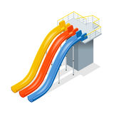 Water slides  on a white background. Flat 3d isometric illustration. Water amusement park playground. Water slides  on a white background. Flat 3d isometric Royalty Free Stock Image
